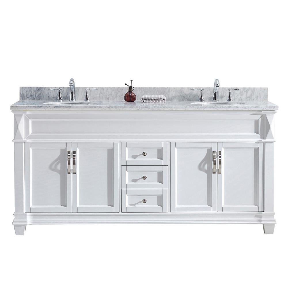 Virtu USA Victoria 72 in. W Bath Vanity in White with Marble Vanity Top in White with Round Basin