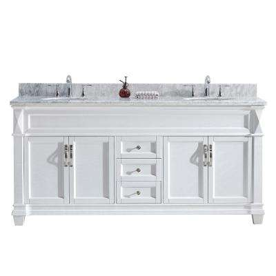 Victoria 72 in. W Bath Vanity in White with Marble Vanity Top in White with Round Basin