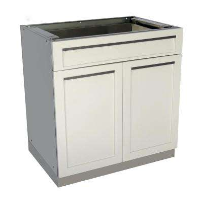 Stainless Steel Drawer Plus 32x35x22.5 in. Outdoor Kitchen Cabinet Base with 2 Powder Coated Doors and Drawers in White