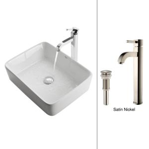 Kraus Rectangular Ceramic Vessel Sink in White with Ramus Faucet in Satin Nickel by KRAUS