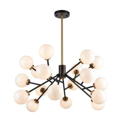 Levity 18-Light Oiled Bronze and Satin Brass Chandelier with Opal White Glass Shades