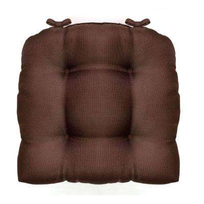 Madison 16 in. x 16 in. Chocolate Woven Cushioned Chair Paid with Ties