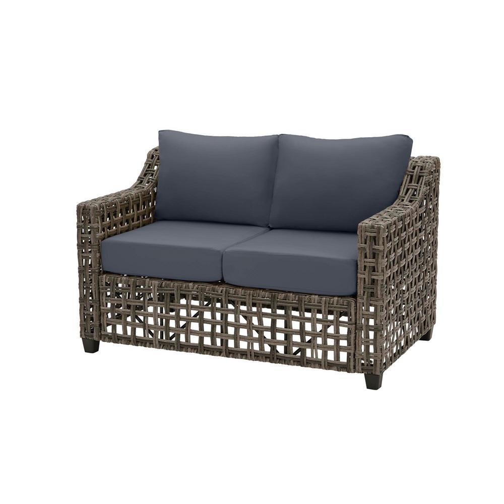 Briar Ridge Brown Wicker Outdoor Patio Loveseat with CushionGuard Sky Blue Cushions