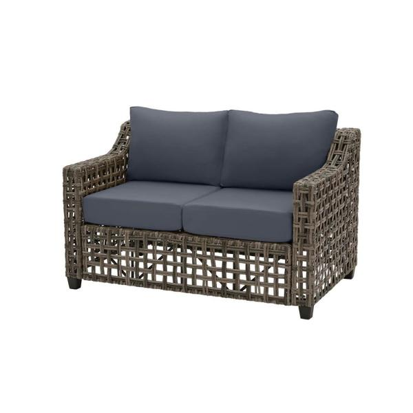 Briar Ridge Brown Wicker Outdoor Patio Loveseat with CushionGuard Sky Blue Cushions