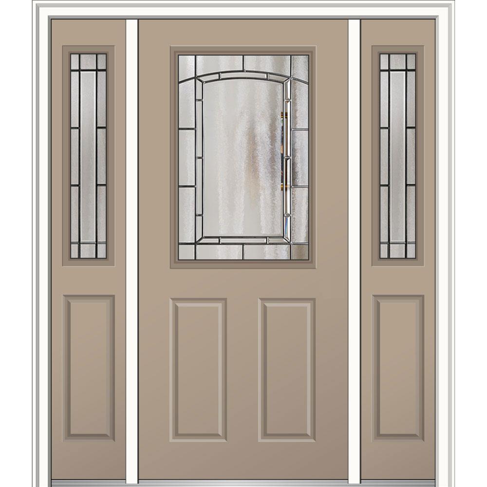 60 in. x 80 in. Solstice Left-Hand 1/2-Lite 2-Panel Classic Painted Fiberglass Smooth Prehung Front Door with Sidelites