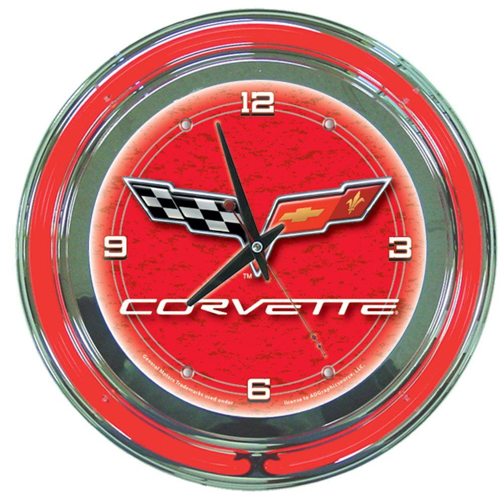 Trademark global 14 in red corvette c6 neon wall clock gm1400r c6 trademark global 14 in red corvette c6 neon wall clock amipublicfo Choice Image