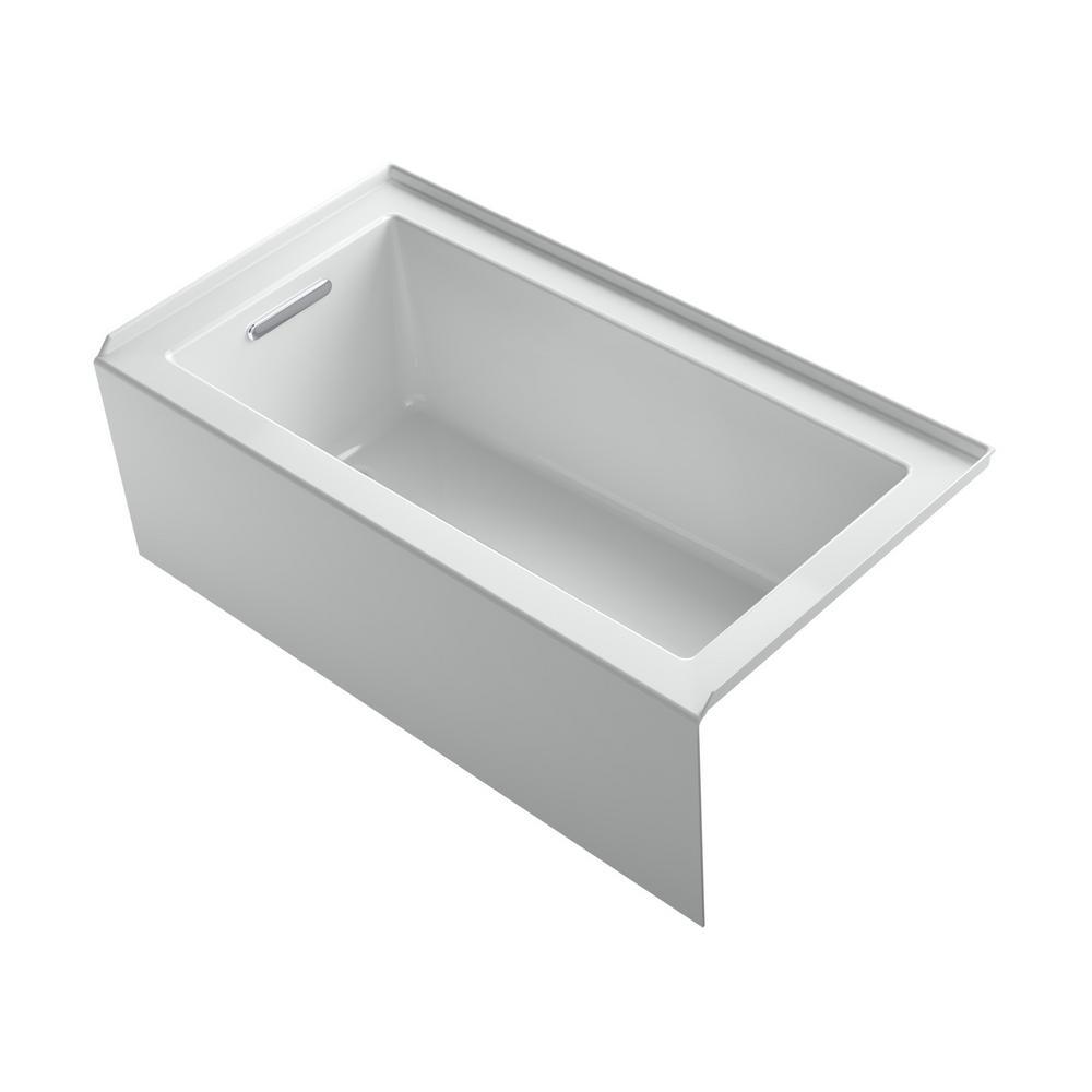 Underscore 60 in. Left-hand drain Rectangular Alcove Bathtub in Ice Grey