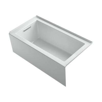 Underscore 60 in. Rectangular Alcove left Drain Bathtub in Ice Grey