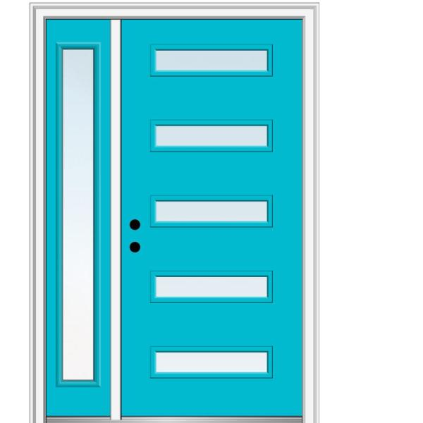 Mmi Door 51 In X 81 75 In Davina Low E Glass Right Hand 5 Lite Modern Painted Fiberglass Smooth Prehung Front Door W Sidelite Z0349084r The Home Depot