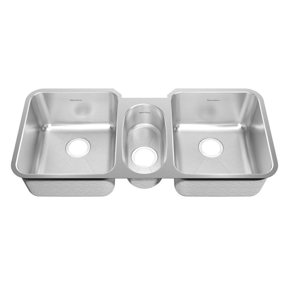 American Standard Prevoir Undermount Brushed Stainless Steel 41 in. Triple Basin Kitchen Sink Kit