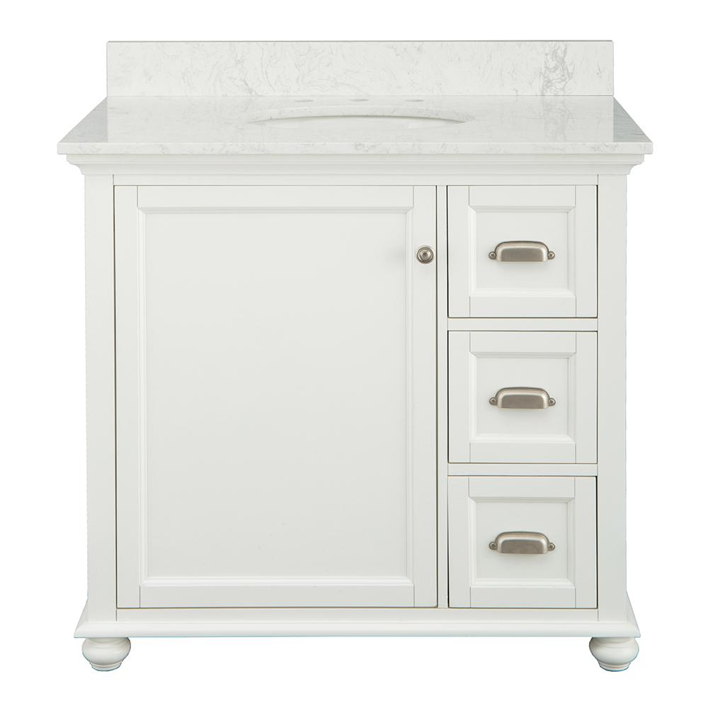 Home Decorators Collection Lamport 37 In X 22 In D Bath Vanity In White With Engineered Stone Vanity Top In White