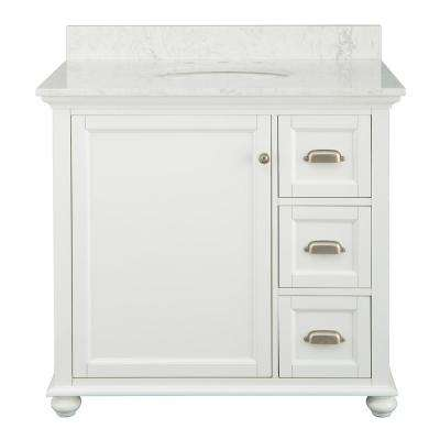 Lamport 37 in. x 22 in. D Bath Vanity in White with Engineered Stone Vanity Top in White