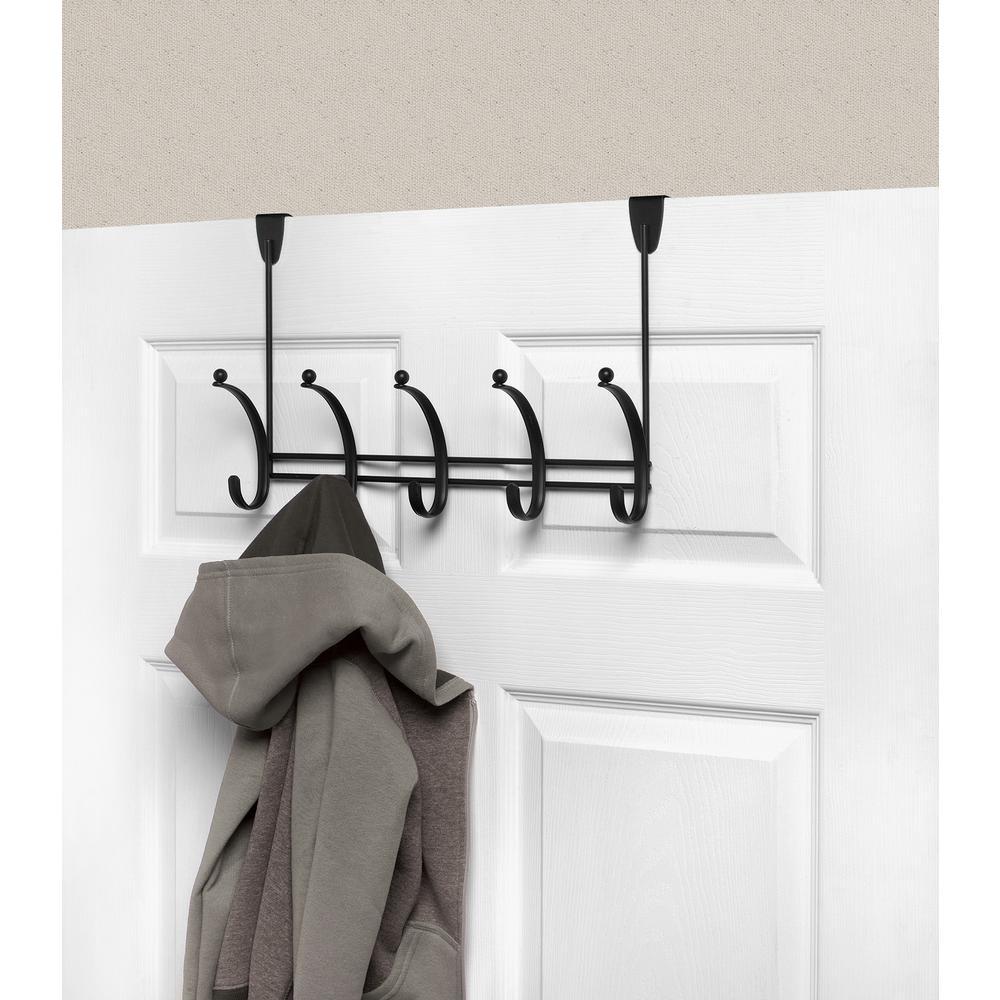 Voy 16-1/4 in. L Decorative 5-Hook Over the Door Rack in Black