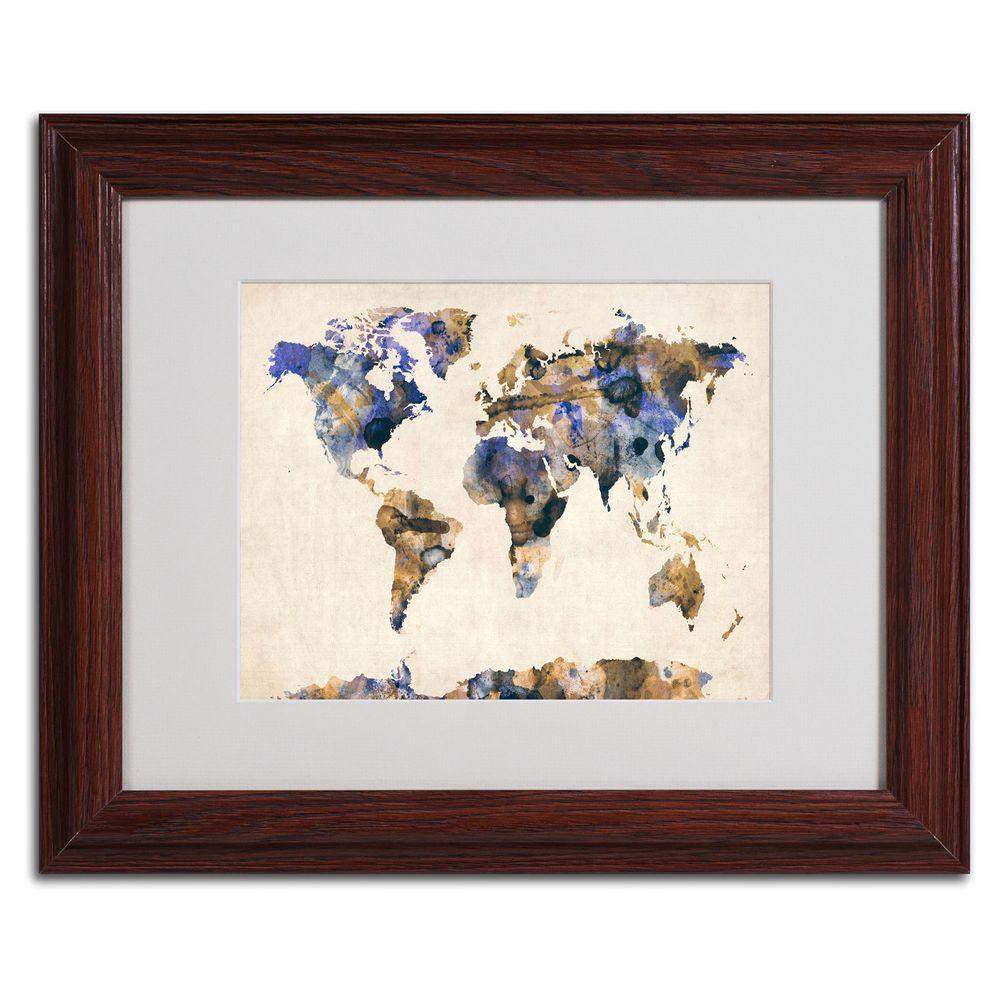 Trademark Fine Art 11 in. x 14 in. Watercolor Map 3 Matted Framed Art