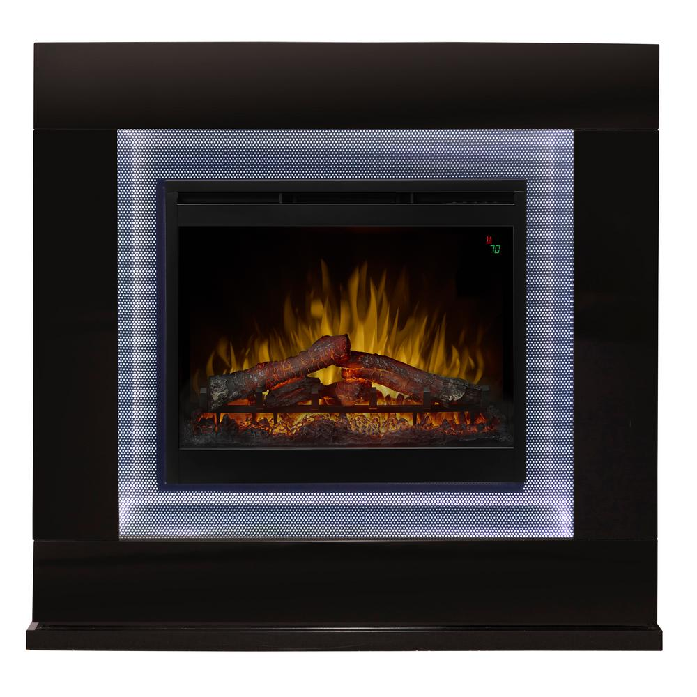 Lukas 48 in. Electric Freestanding Fireplace in Gloss Black