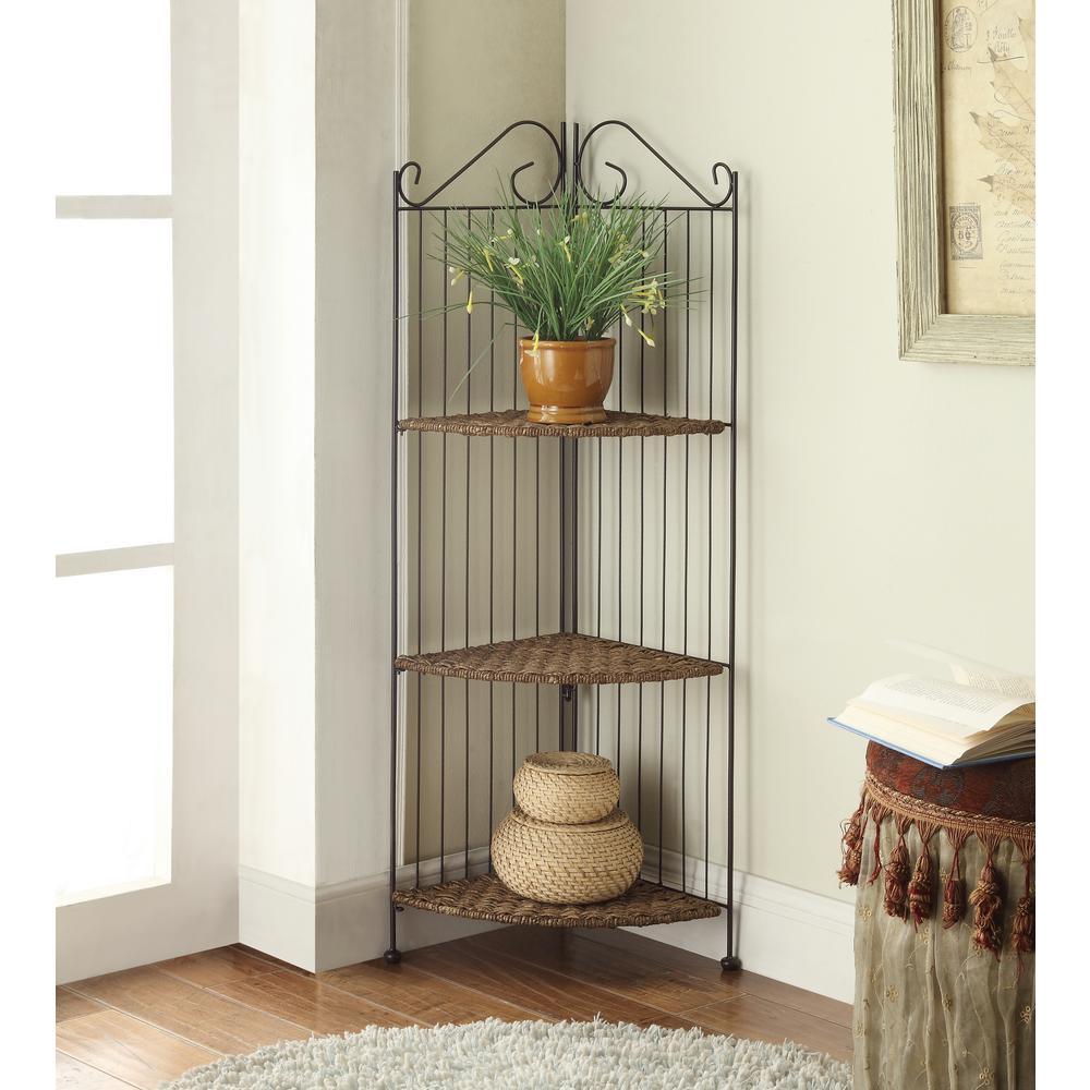 Farmington 3-Tier Folding Corner Maize Weave Bookcase