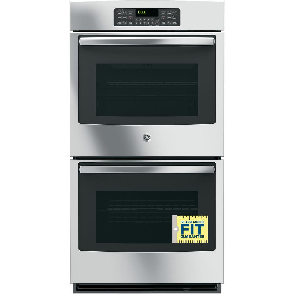 GE 27 in. Double Electric Wall Oven Self-Cleaning with Steam in Stainless Steel