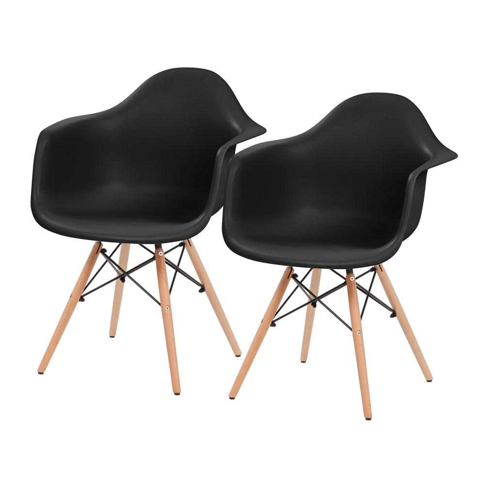 Black Plastic Shell Chair with Arm Rest (Set of 2)