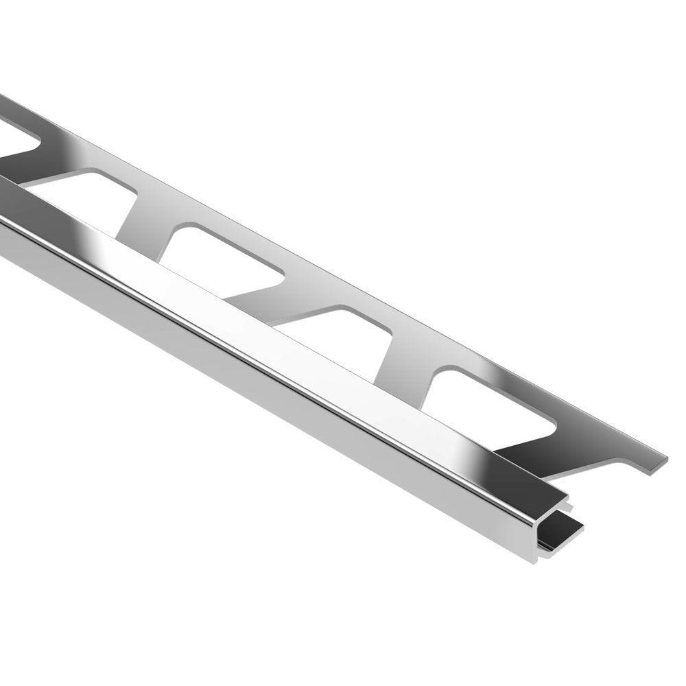 Quadec Polished Chrome Anodized Aluminum 3/8 in. x 8 ft. 2-1/2 in. Metal Square Edge Tile Edging Trim