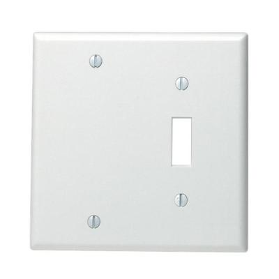 White 2-Gang 1-Toggle/1-Blank Wall Plate (1-Pack)