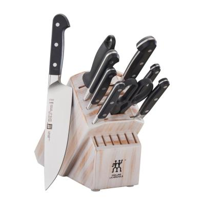 Pro 10-Piece Rustic White Knife Block Set
