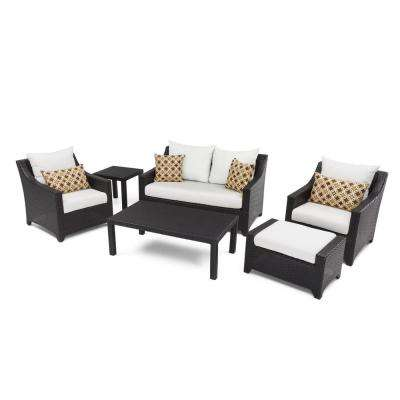 Deco 6-Piece Love and Club Patio Deep Seating Set with Moroccan Cream Cushions