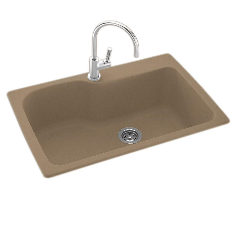 Drop-In/Undermount Solid Surface 33 in. 1-Hole Single Bowl Kitchen Sink in