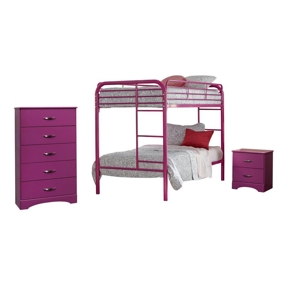 Raspberry Collection 171K3T 3-Piece Raspberry Twin Bedroom Set