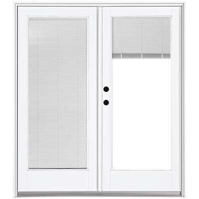 72 in. x 80 in. Fiberglass Smooth White Right-Hand Inswing Hinged Patio Door with Low E Built in Blinds