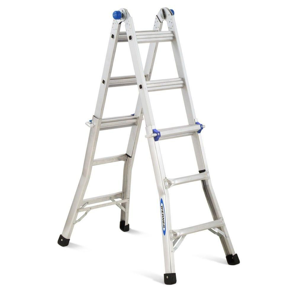 Werner 13 ft. Aluminum Telescoping Multi-Position Ladder with 225 lb. Load Capacity Type II Duty Rating