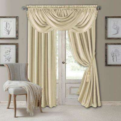 Elrene Versailles 52 in. W x 95 in. L Polyester Single Blackout Window Curtain Panel in Ivory