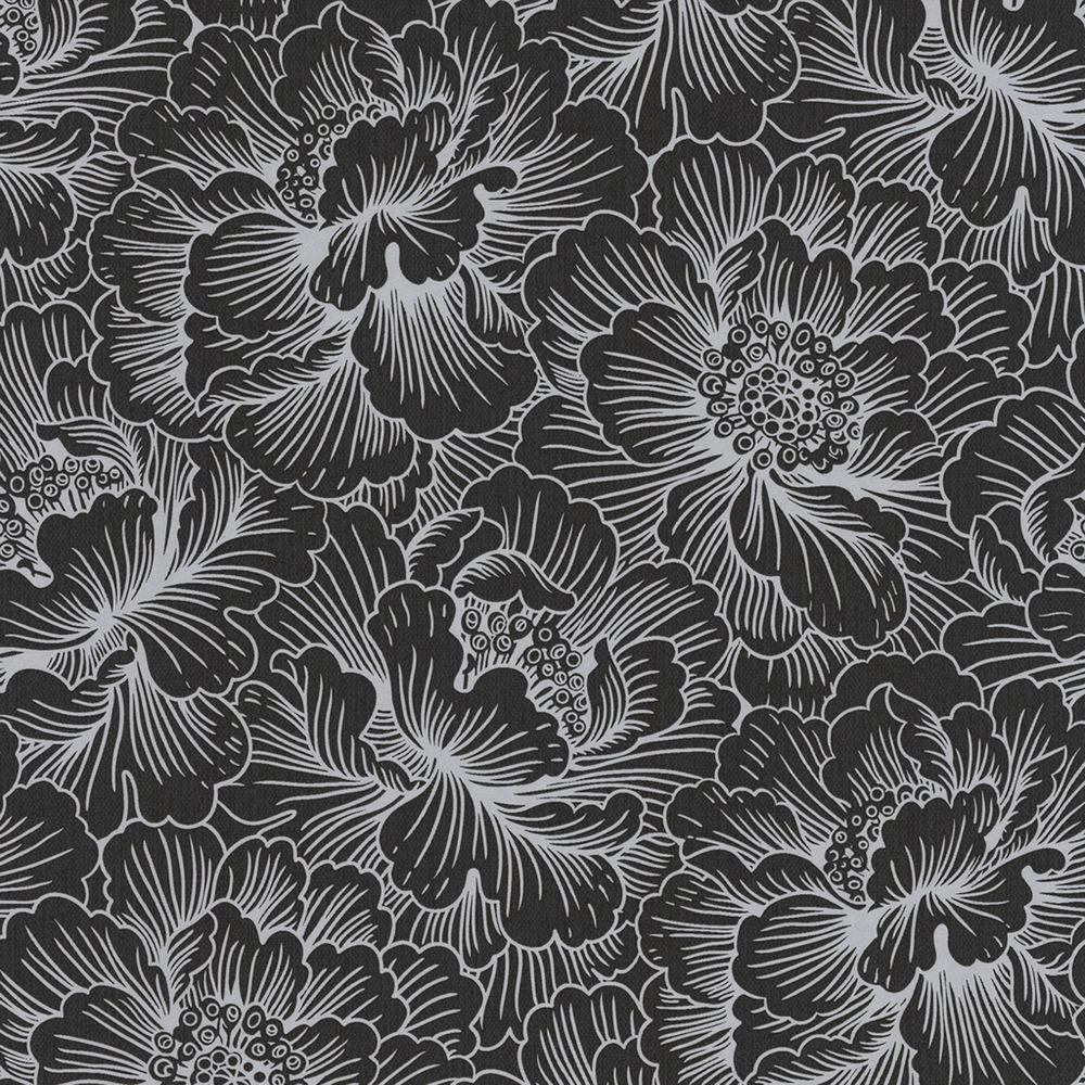 Graham & Brown 56 sq. ft. Flourish Black Wallpaper