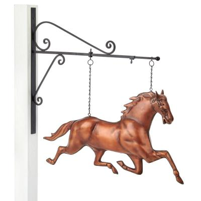 Pure Copper Hand Finished Bronze Patina Horse Hanging Wall Sculpture