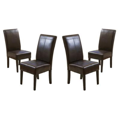 Pertica T-stitch Chocolate Brown Leather Dining Chairs (Set of 4)