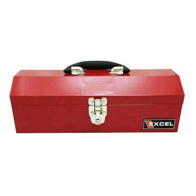 14.2 in. W x 5.9 in. D x 4.5 in. H Portable Steel Tool Box in Red