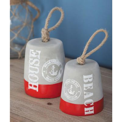 Coastal Living Gray and Red Cement Rope Door Stops (Set of 2)