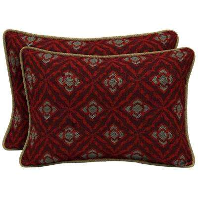 Geo Floral Berry Oversize Lumbar Outdoor Throw Pillow with Welt (2-Pack)