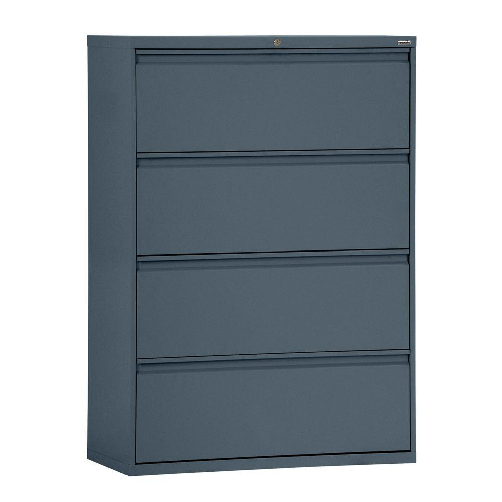Sandusky 800 Series 42 in. W 4-Drawer Full Pull Lateral File Cabinet in Charcoal
