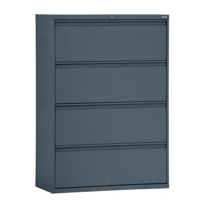 800 Series 42 in. W 4-Drawer Full Pull Lateral File Cabinet in Charcoal
