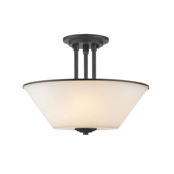 Whitfield 15 in. 3-Light Bronze Semi-Flush Mount with White Glass