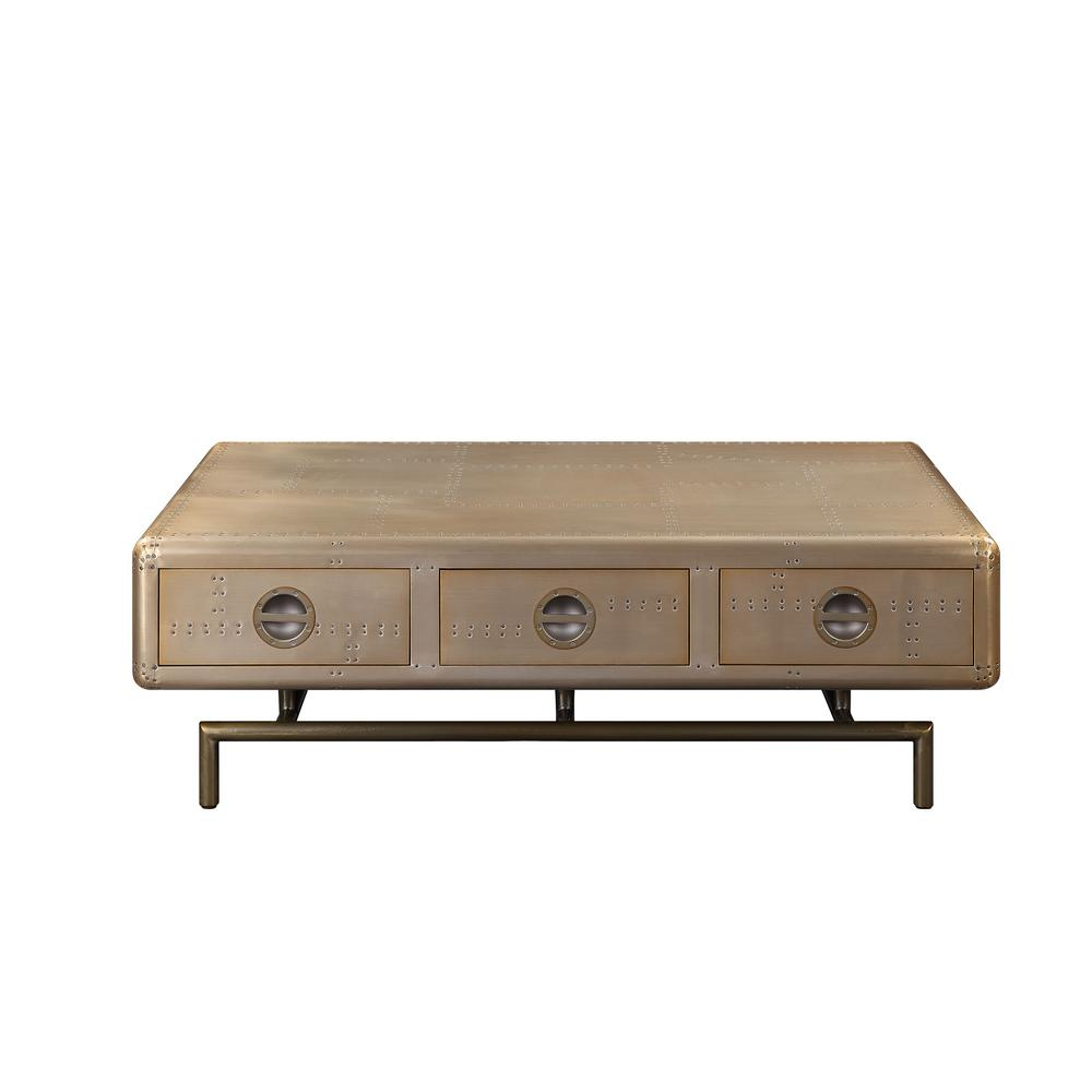 Tanquin Black Glass And Gold Coffee Table