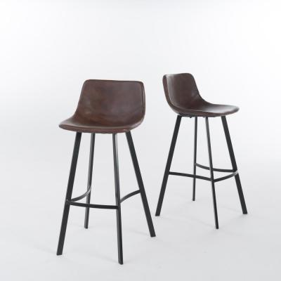 Dax 30 in. Brown and Black Bar Stool (Set of 2)