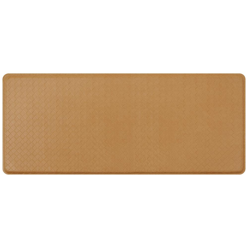 GelPro Classic Basketweave Khaki 20 in. x 48 in. Comfort Kitchen Mat