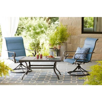 Crestridge Steel Padded Sling Swivel Outdoor Patio Lounge Chair in Conley Denim (2-Pack)
