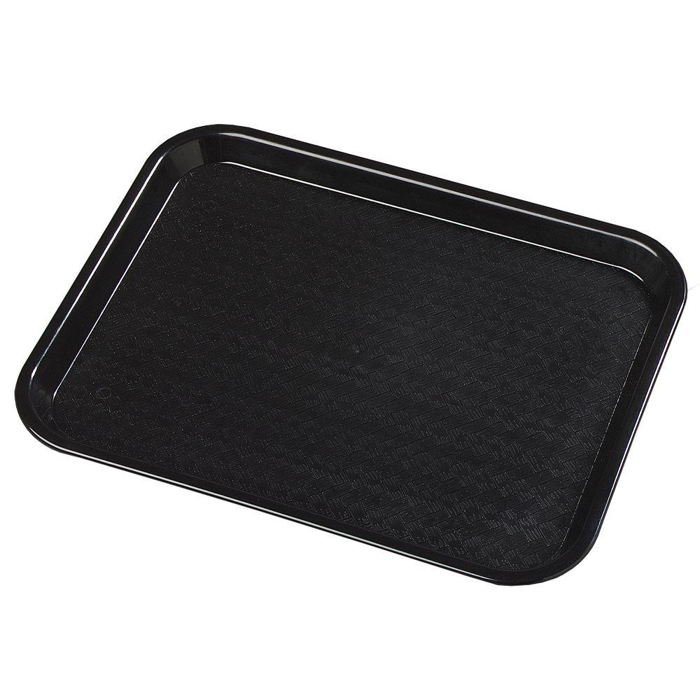 10.75 in. x 13.87 in. Polypropylene Serving/Food Court Tray in Black