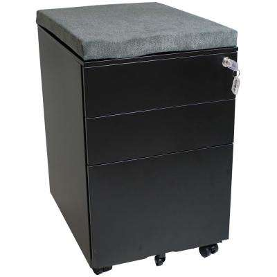 Rolling Black File Cabinet with Lock and Gray Cushion