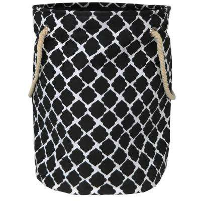 Smarty Pants Black Quatrefoil Polyester Standing Laundry Basket