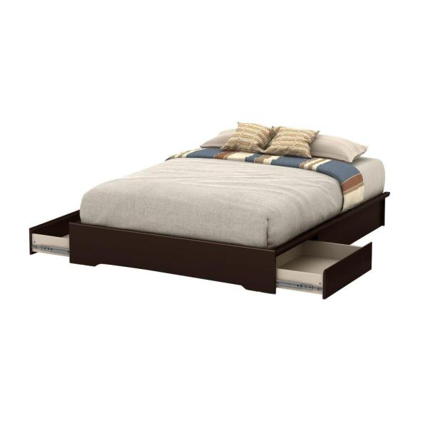 South Shore Basic 2-Drawer Queen-Size Storage Bed in Chocolate 10161