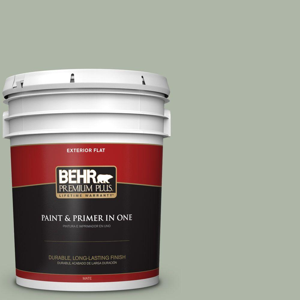BEHR Premium Plus 5-gal. #ICC-56 Green Tea Flat Exterior Paint