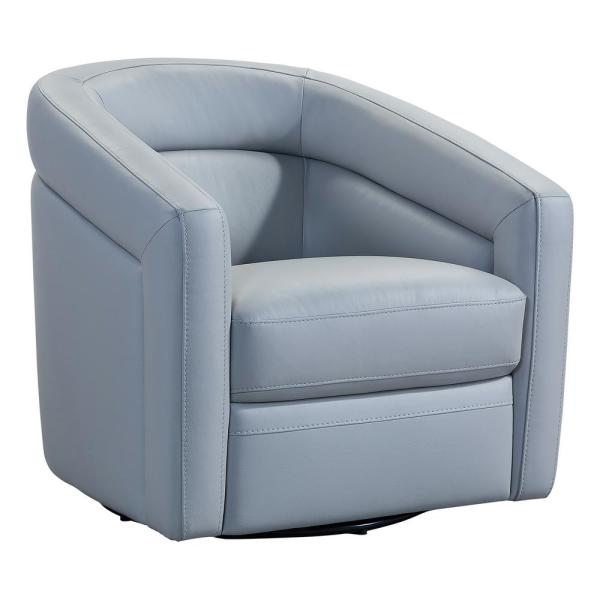 Desi Dove Grey Genuine Leather Contemporary Swivel Accent Chair